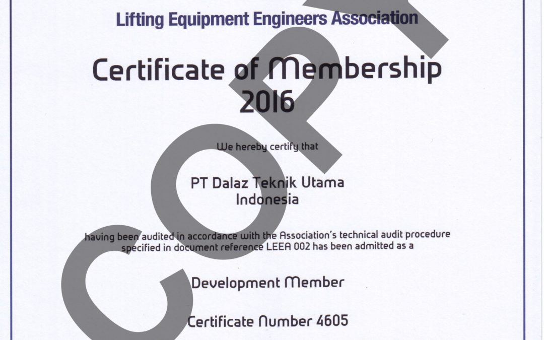 LEEA Member Certificate 2016